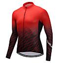 tanie Stroje rowerowe-FUALRNY® Męskie Długi rękaw Koszulka rowerowa - Czarny / Czerwony Gradient Rower Dżersej Zima / Wysoka elastyczność