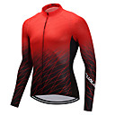 cheap Cycling Jersey & Shorts / Pants Sets-FUALRNY® Men's Long Sleeve Cycling Jersey - Black / Red Gradient Bike Jersey Winter / High Elasticity