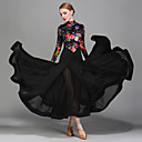 cheap Ballroom Dance Wear-Ballroom Dance Dresses Women's Performance Chiffon Satin Velvet Ice Silk Pattern / Print Long Sleeves Natural Dress