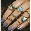 رخيصةأون خواتم-للمرأة خاتم - فيروز, سبيكة قديم قياس واحد ذهبي من أجل يوميا / 8PCS
