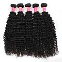olcso Természetes színű póthajak-4 csomópont Perui haj Kinky Curly Kémiai anyagoktól mentes / nyers Az emberi haj sző 8-28 hüvelyk Emberi haj sző Human Hair Extensions / Kinky Göndör