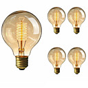 abordables Bombillas LED-5pcs 40 W E26 / E27 G80 Blanco Cálido 2200-2700 k Retro / Regulable / Decorativa Bombilla incandescente Vintage Edison 220-240 V