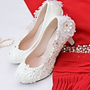 cheap Wedding Shoes-Women's Shoes Lace / Leatherette Spring / Fall Comfort Wedding Shoes Round Toe Rhinestone / Imitation Pearl / Appliques White