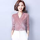 baratos Murais de Parede-Mulheres Camiseta - Diário / Para Noite Sofisticado Sólido Decote V