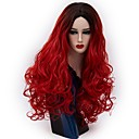 cheap Costume Wigs-Synthetic Wig / Cosplay Wig Wavy / Natural Wave Synthetic Hair Red / Green / Purple Wig Women's Long Capless Black / Green Black / Purple Black / Red