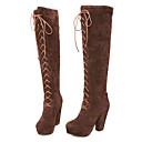 baratos Botas Femininas-Mulheres Sapatos Pele Nobuck Outono / Inverno Botas da Moda Botas Salto Robusto Amarelo / Marron / Vermelho