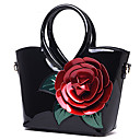 cheap Totes-Women's Bags Patent Leather Tote Flower Dark Green / Fuchsia / Sky Blue