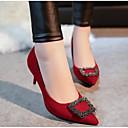 olcso Női magassarkú cipők-Női PU Tavasz / Ősz Kényelmes Magassarkúak Szürke / Piros / Zöld