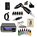 cheap Starter Tattoo Kits-Tattoo Machine Starter Kit - 1 pcs Tattoo Machines with 7 x 15 ml tattoo inks, Professional LED power supply Case Not Included 1 rotary