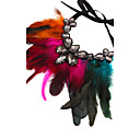 cheap Necklaces-Women's Pendant Necklace - Feather Statement, Oversized Brown, Rose Red, Red Necklace Jewelry For Party, Stage