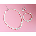 cheap Jewelry Sets-Women's Jewelry Set - Imitation Pearl Include Drop Earrings Necklace White For Wedding Party Casual