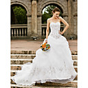 cheap Wedding Shoes-Ball Gown Strapless Chapel Train Organza Made-To-Measure Wedding Dresses with Embroidery / Pick Up Skirt by LAN TING BRIDE® / Open Back