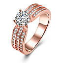 cheap Rings-Women's Crystal Band Ring / Engagement Ring - Zircon, Alloy Heart 6 / 7 / 8 Rose Gold For Wedding / Party / Birthday