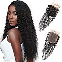 cheap Hair Braids-Febay Brazilian Hair 4x4 Closure Curly / Classic Free Part / Middle Part / 3 Part Swiss Lace Remy Human Hair Daily