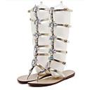 hesapli Kadın Sandaletleri-Kadın's Ayakkabı PU Yaz / Sonbahar Rahat / Yenilikçi Sandaletler Düz Taban Açık Uçlu Düğün / Parti ve Gece için Kristal / Perçin / Işıltılı Pullar Altın