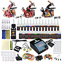 cheap Starter Tattoo Kits-Tattoo Machine Starter Kit - 3 pcs Tattoo Machines with 28 x 5 ml tattoo inks, Professional LCD power supply Case Not Included 3 alloy machine liner & shader