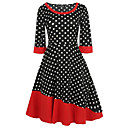 cheap Ombre Hair Weaves-Women's Going out Vintage Cotton Sheath Dress - Polka Dot / Patchwork / Vintage High Rise / Fall / Winter