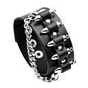 cheap Men's Bracelets-Men's Rivet Cuff Bracelet - Leather Vintage, Oversized Bracelet Jewelry Black / Brown For Street Bar