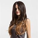halpa Synteettiset peruukit ilmanmyssyä-Synteettiset peruukit Laineita / Kinky Straight Synteettiset hiukset Keskijakaus Ruskea Peruukki Naisten Pitkä Suojuksettomat