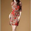 baratos Anéis-Mulheres Algodão Solto Vestido Estampa Colorida Colarinho de Camisa Acima do Joelho / Delgado