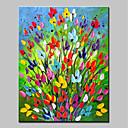 tanie Obrazy: abstrakcja-Hang-Malowane obraz olejny Ręcznie malowane - Kwiatowy / Roślinny Prosty Nowoczesny Brezentowy