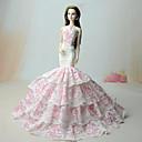 hesapli Barbie İçin Kıyafetler-Elbiseler Elbise İçin Barbie Bebek Beyaz + Pembe Dantel Polyester Jacquard Elbise İçin Kız Oyuncak bebek