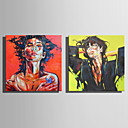 baratos Pinturas Pessoas-Pintura a Óleo Pintados à mão - Pessoas Rústico Modern Tela de pintura