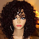 cheap Human Hair Wigs-Human Hair Glueless Lace Front Lace Front Wig Bob Layered Haircut With Bangs Brazilian Hair Jerry Curl Wig 130% Density with Baby Hair Natural Hairline Unprocessed Women's Medium Length Human Hair