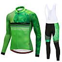 tanie Zestawy koszulek i spodni rowerowych-CYCOBYCO Męskie Długi rękaw Koszulka i spodnie z szelkami na rower - Zielony Rower Zestawy odzieży, Wkładka 3D, Szybkie wysychanie, Zima, Polar, Lycra Kropki / Elastyczny / Zaawansowany