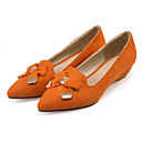 cheap Women's Flats-Women's Shoes Suede Spring / Fall Comfort / Novelty Flats Pointed Toe Bowknot / Rivet Orange / Light Yellow / Brown / Party & Evening