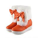 ieftine Ghete de Damă-Pentru femei Pantofi PU Toamnă / Iarnă Confortabili / Noutăți / Cizme de Zăpadă Cizme Toc Drept Vârf rotund Cizme / Cizme la Gleznă Pene