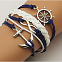 cheap Men's Bracelets-Unisex Wrap Bracelet - Leather Anchor Simple, Basic Bracelet Dark Blue For Casual / Going out