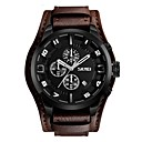 cheap Bracelets-SKMEI Men's Sport Watch / Wrist Watch Chinese Calendar / date / day / Water Resistant / Water Proof / Stopwatch Genuine Leather Band Luxury / Vintage / Fashion Black / Brown / Large Dial