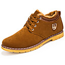 cheap Men's Boots-Men's Combat Boots Nubuck leather Fall / Winter Boots Walking Shoes Booties / Ankle Boots Yellow / Blue / Burgundy