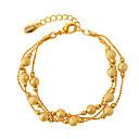 hesapli Moda Bileklikler-Kadın's Zincir & Halka Bileklikler - Altın Kaplama Basit Bilezikler Altın Uyumluluk Düğün / Hediye