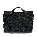 cheap Totes-Women's Bags Cowhide Tote Flower Black / Red