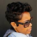 tanie Bez czepka-Peruki bez czepka z naturalnych włosów Włosy naturalne Kędzierzawy / Jerry Curl Peruka afroamerykańska Krótki Tkany maszynowo Peruka Damskie / Curly