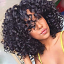 cheap Human Hair Wigs-Human Hair Glueless Lace Front Lace Front Wig Bob Layered Haircut With Bangs style Brazilian Hair Kinky Curly Wig 130% Density with Baby Hair Dark Roots Natural Hairline 100% Virgin Unprocessed