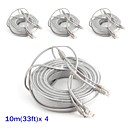 abordables Sets de Herramientas-Cables 4PCS 33ft CCTV RJ45 Video Cable DC Power Extension para Seguridad sistemas 1000cm 1.23kg