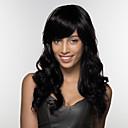 olcso Sapka nélküli-Emberi hajszelet nélküli parókák Emberi haj Hullámos haj Oldalsó rész Hosszú Géppel készített Paróka Női