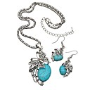 cheap Bluetooth Headsets-Women's Turquoise Jewelry Set - Turquoise Butterfly Ladies, Simple, Vintage Include Drop Earrings Necklace Silver For Daily