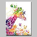 tanie Obrazy olejne-Hang-Malowane obraz olejny Ręcznie malowane - Zwierzęta Zwierzęta Nowoczesny Zwinięte płótna / Zwijane płótno