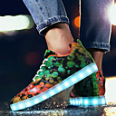 cheap Men's Sneakers-Men's Light Up Shoes Tulle Spring / Fall Comfort Athletic Shoes Walking Shoes Green / Blue / Rainbow