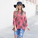 baratos Perucas Sintéticas sem Touca-Mulheres Camiseta Moda de Rua Floral