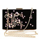cheap Clutches & Evening Bags-Women's Bags Velvet Evening Bag Crystals Black / Blushing Pink