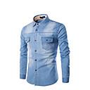 Недорогие Одежда для йоги, бега и фитнеса-Муж. Рубашка Хлопок Тонкие Однотонный Синий / Длинный рукав
