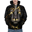 cheap Car Covers-Men's Plus Size Active Long Sleeve Loose Hoodie & Sweatshirt - 3D / Animal, Print Hooded