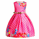 cheap Girls' Dresses-Girl's Casual/Daily Going out Solid Floral Round Dots Dress, Cotton Polyester Spring Summer Sleeveless Cute Active Princess Blue Fuchsia