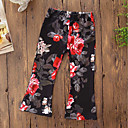 cheap Girls' Pants & Leggings-Girls' Floral Classic Pants, Cotton Polyester Fall Spring, Fall, Winter, Summer Cute Active Black Red