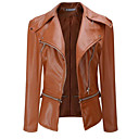 cheap Women's Boots-Women's Going out Street chic Leather Jacket - Solid Colored, Pleated Peter Pan Collar / Fall / Winter
